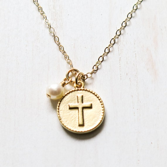 Gold Cross Necklace First Communion Gift Confirmation Gift