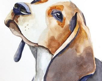beagle original watercolor painting dog painting beagle painting  24x32cm (9,4x12,6in)