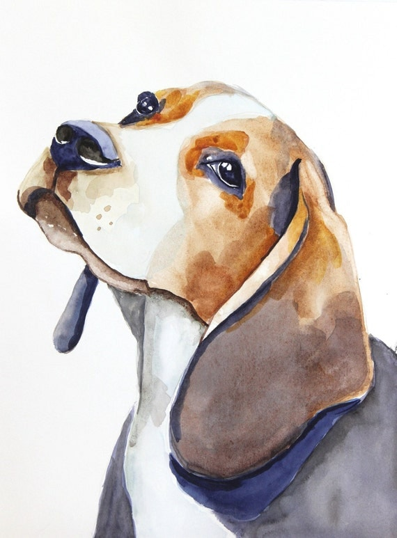 Beagle original watercolor painting dog painting beagle for Painting of your dog