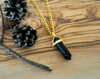 Onyx Pendant Necklace - Crystal Necklace - Gold