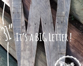 """31"""" Tall Rustic Letter W, Guest Book,Wooden Letter,Wedding Decorations, Guestbook Initial,Rustic Letter,Rustic Wedding,Guestbook Alternative"""