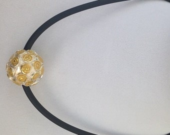 Necklace with Fine Silver Gold-Accented Bead