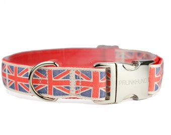 Dog collar London Calling Union Jack  - for girls and boys - metal buckle