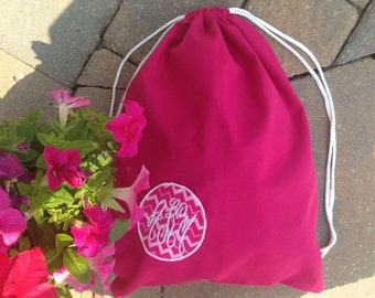 Monogrammed Lilly Pulitzer & Other Pattern Drawstring Gym Bag
