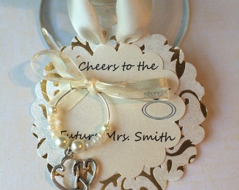 Engagement Favors-Wedding Favors- Wedding Wine Charms-Wedding Table Decor-Bridal Favors