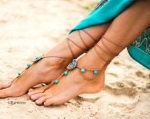 Seashell and Turquoise gemstone Crochet Barefoot sandals, Tan and Turquoise Barefoot sandal, Beach wedding, Soleless sandals, Foot jewelry