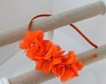 Neon orange headband orange girls headband orange wedding headband halloween headband toddler orange headband neon orange hair accessory