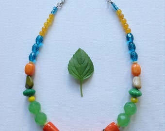 NeXs Modern Jewelry Natural Gemstone and Glass Beads, Bright, Chunky, Colorful Necklace