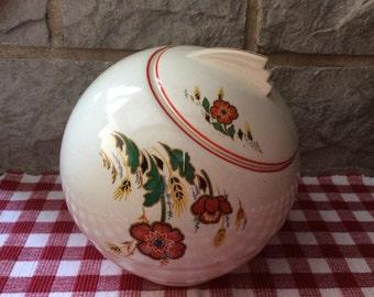 Vintage Floral Cookie Jar with Fish Tale Handle/ Vintage Cookie Jar