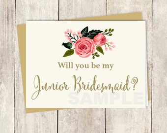 Be My Junior Bridesmaid // Will You? // Wedding Card DIY // Watercolor Flower // Gold Calligraphy, Rose // Printable PDF ▷ Instant Download