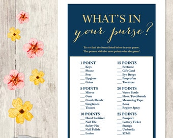 Elegant Bridal Shower Game DIY / Gold Calligraphy, Navy / What's In Your Purse Printable PDF / Wedding Shower ▷ Instant Download