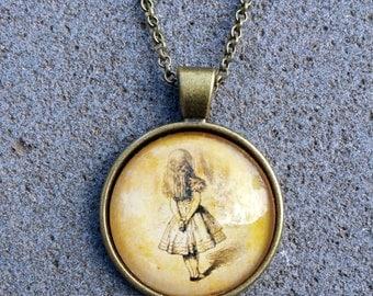 Alice in Wonderland - Art - Alice Watching - Pendant & Chain