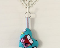 Blue VW Camper Van Keychain, Mini Van Key Ring.