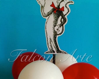 Dr Seuss birthday party Balloon Centerpiece  for Birthday or Baby Shower Birthday Favor Candy Buffet Guest Centerpiece Cat In The Hat