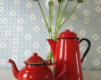 Vintage Red Enamel Tea and Coffee Pot 1970s