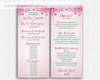 Pink peonies, Wedding program, peonies program, flower wedding program, shabby chic wedding programs, pink program, pink wedding, fuchsia