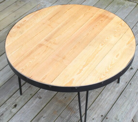 Reclaimed Wood Industrial Round Coffee Table: Round Coffee Table Reclaimed Wood Table Coffee By
