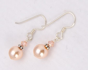 Light Peach Earring Peach Bridesmaid Earring Peach Pearl with Swarovksi® Pearl Sterling Silver Lever Back Clip On