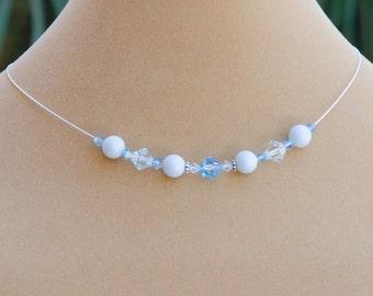 Pastel Blue Necklace, Pastel Blue Bridesmaid Necklace, Blue Floating Necklace, Light Blue Bridesmaid with Swarovski® Pearl, Jewelry
