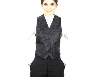 Women's Black Triangular Pattern Jacquard Vest