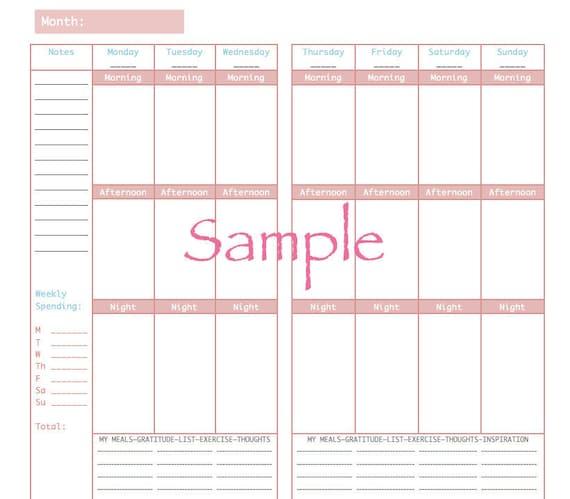 ... Download - Printable - Weekly Planner - Midori Insert - Regular Size