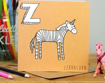 Zebra Unicorn Card