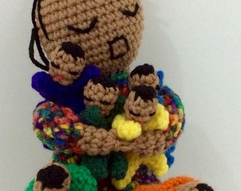 Crochet Stuffed Doll - Mother & Babies - 10 inches