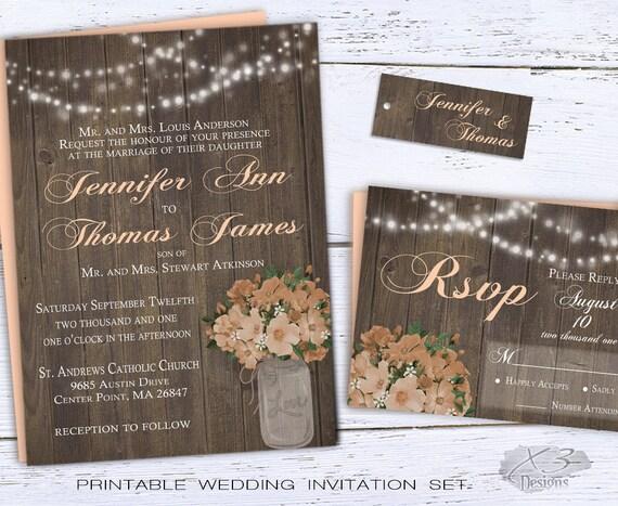 Rustic Backyard Wedding Invitations : Wedding Invitations, Printable Spring Wedding Invitations, Backyard