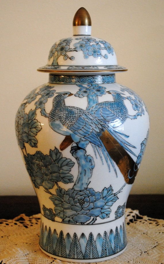Japanese Gold Imari Hand Painted Blue Porcelain Peacock