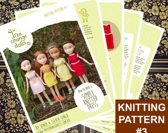 Tree Change Dolls® Knitting Pattern #3 Simple Knitted Dress, by Sonia and Silvia Singh