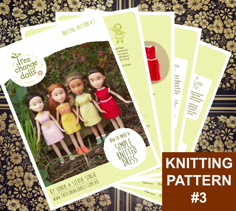 Easy Knitting Dress Pattern : Tree Change Dolls  Knitting Pattern 3 Simple Knitted Dress