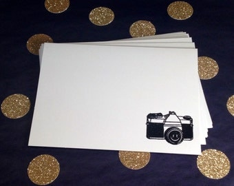 Camera Folded Note Cards and Envelopes - Black and White - Set of 8