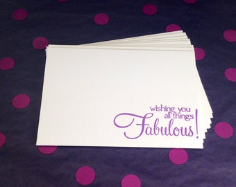 Good Luck Note Card Set - Wishing You All Things Fabulous - Purple and White - Set of 8