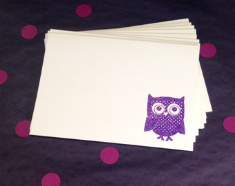 Owl Folded Note Cards and Envelopes - Purple and White - Set of 8