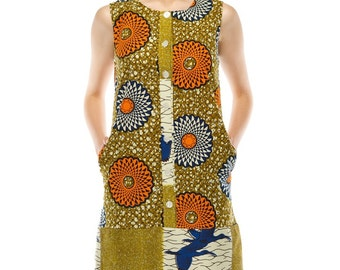 Tilda Shift dress - Orange Wheel print