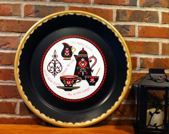 Large round metal tray Folk art Coffee tray by Stoykes