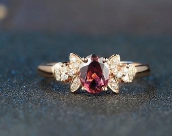 Red Tourmaline Rubellite Diamond Ring in 18k Rose Gold Engagement Wedding Birthday Anniversary Valentine's