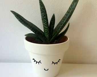 Hand Painted Small Smiley Planter