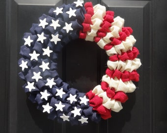 Show your American Spirit with this Burlap Flag Wreath!  Flag Wreath, Fourth of July Wreath, Year round Wreath, Red, White and Blue Wreath