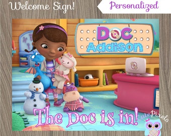 Doc McStuffins Sign, Doc McStuffins welcome sign, Doc Mcstuffins Birthday, Doc McStuffins Party, Doctor Sign, Doc Sign