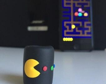 Dread Bead, Dreadlock Accessory, Pac Man, Retro, 1cm Diameter, Handmade by Over It Designs, Polymer Clay, OOAK