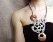 Crochet necklace, bronze jewelry, free form crochet, statement necklace