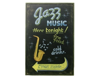 Jazz Music Billboard Sign, Large Hand Painted