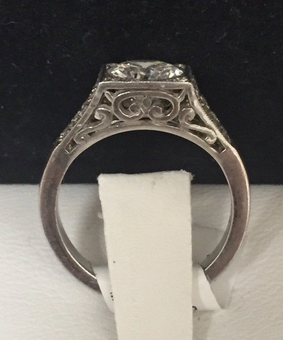 antique inspired 18k white gold and pave set by shopevintage