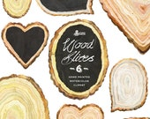 Wood Slices Watercolor Clipart 6, chalkboard, handpainted, diy elements, lettering, textures, frames, invite, quotes, cards, heart, hires