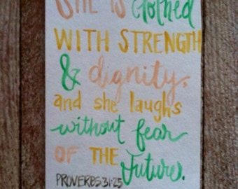 Proverbs 31:25 - Scripture Art - Bible Verse Art - nursery art - Watercolor Painting - mustard, pink, turquoise - proverbs 31 woman