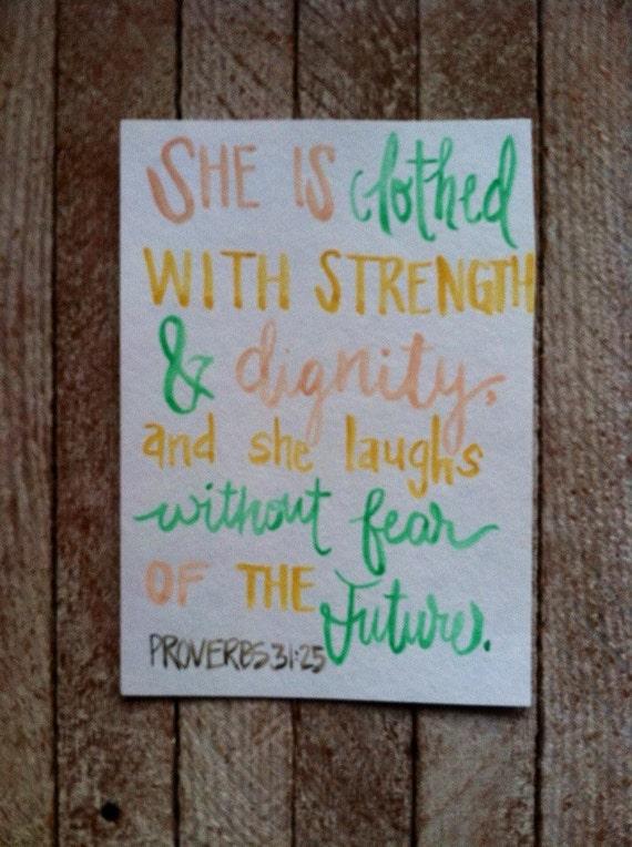 Proverbs 31:25 - Scripture Art - Bible Verse Art - nursery art - Watercolor Painting - mustard, pink, turquoise - proverbs 31 woman