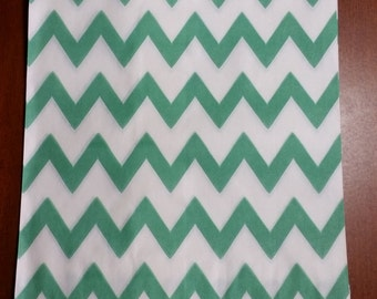 """10 Medium Teal and White Chevron Candy bags, measuring 5 1/8"""" x 6 3/8"""""""