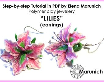 "Polymer clay tutorial ""LILIES-earrings"" PDF"