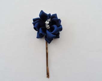 Navy Blue Flower And Crystal Handmade Hair Pins